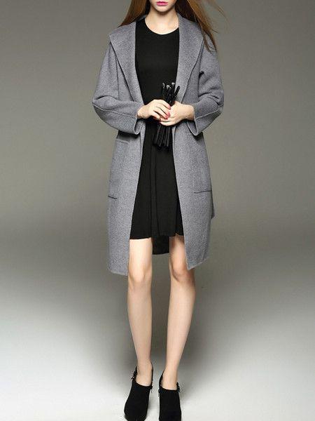 Gray Pockets Wool Long coat