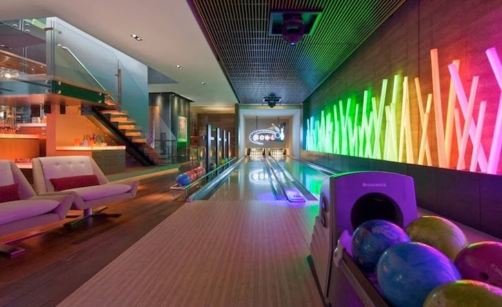 Bowling Alley in the basement? Heck yeah!!! The neon colors are so cool!!!
