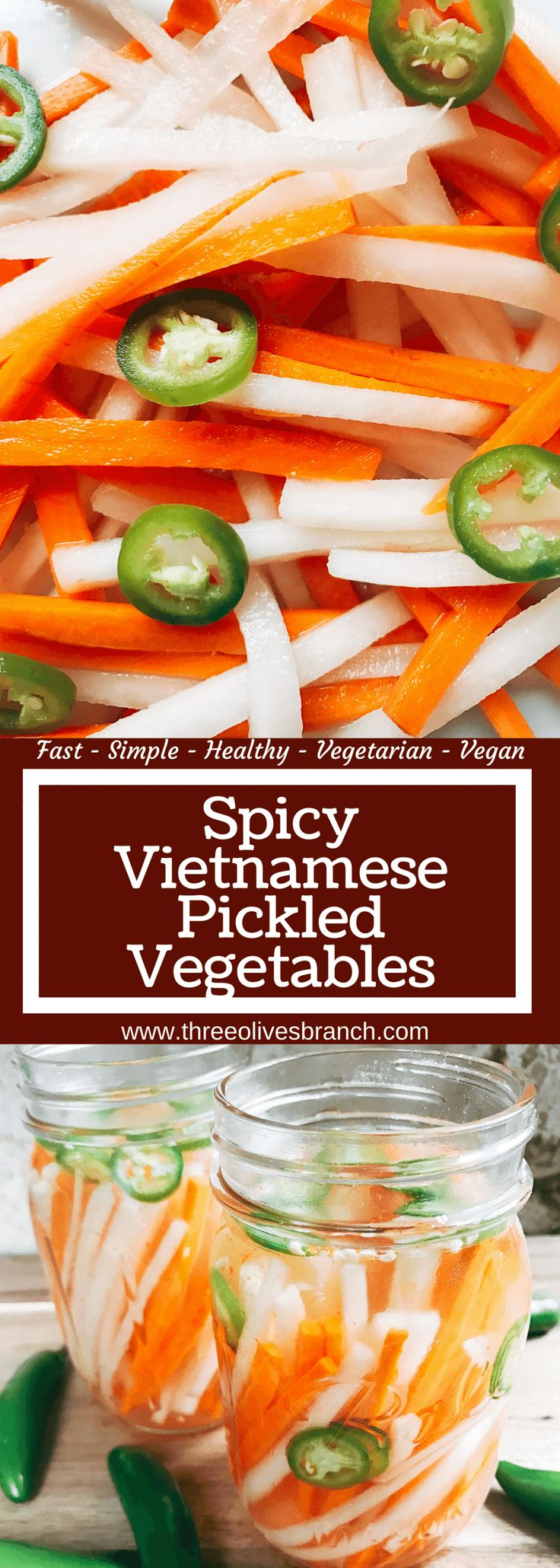 Simple and easy pickled vegetables perfect for your banh mi! Use as a quick condiment on your favorite foods. Daikon radish and carrots are made spicy with serrano. A rice vinegar base is ready in just minutes for this classic Vietnamese slaw. Use cucumber or your favorite vegetables. Vegan and vegetarian. Spicy Vietnamese Pickled Vegetables | Three Olives Branch | www.threeolivesbranch.com #banhmi #pickledvegetables #pickledveggies #vietnameserecipe