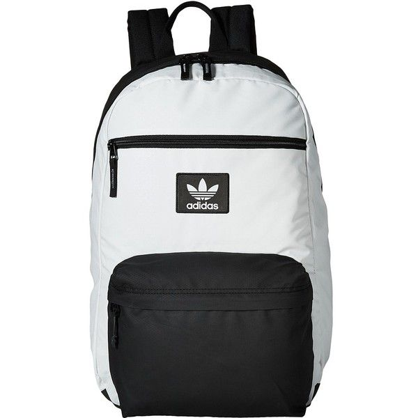 adidas Originals National Plus Backpack (Neo White/Black) Backpack... (1,020 MXN) ❤ liked on Polyvore featuring bags, backpacks, polyester backpack, black and white bag, water resistant bag, strap bag and rucksack bag