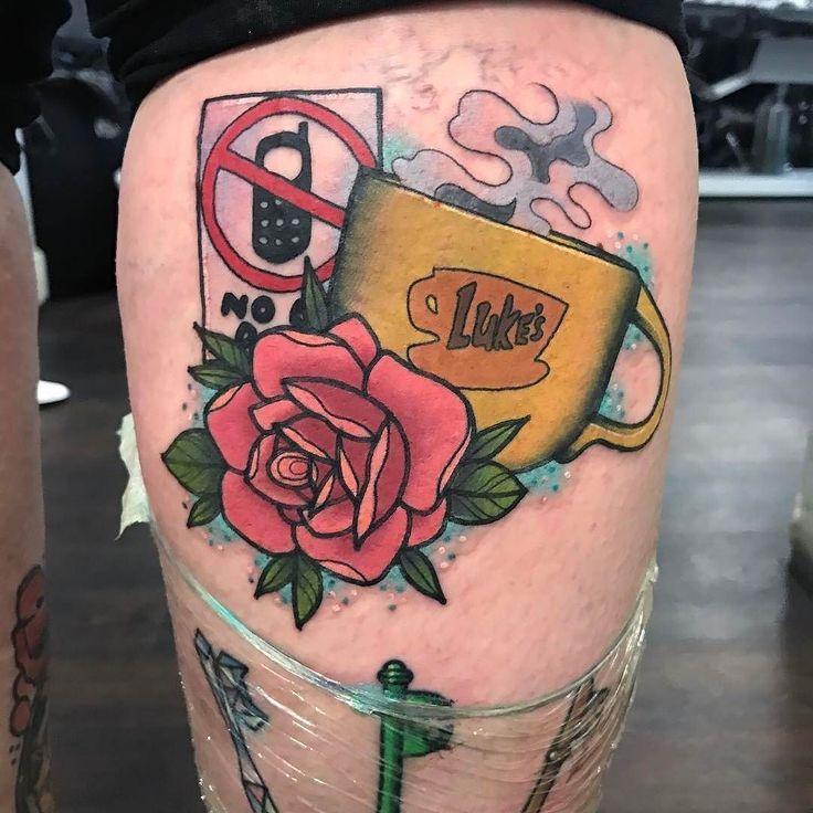 Gilmore Girls tattoo by @alexrowntreetattoo in Newcastle U.K. #alexrowntreetattoo #alexrowntree #newcastle #uk #unitedkingdom #gilmoregirls #lukesdiner #nomobilephones #lukes #gilmoregirlstattoo #gilmoregirlsrevival #tattoo #tattoos #tattoosnob