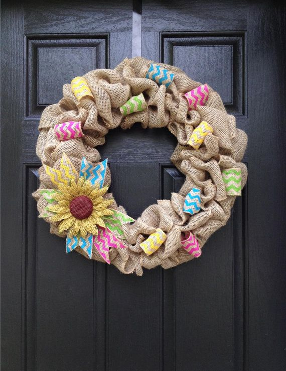 Multicolor Chevron & Sunflower burlap wreath by KristinsBurlapDesign on Etsy Spring wreath, summer wreath, pink, yellow, blue, lime green