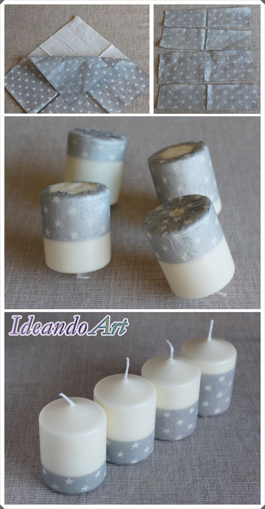 Velas de Navidad DIY decoradas con servilletas usando decoupage by IdeandoArt
