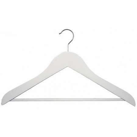 Nahanco Wooden Suit Hangers - Executive Series - 17 inch White Finish - Home Use