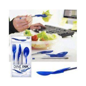 Dine Ink Pen Cap Eating Utensils - Funny novelty utensils