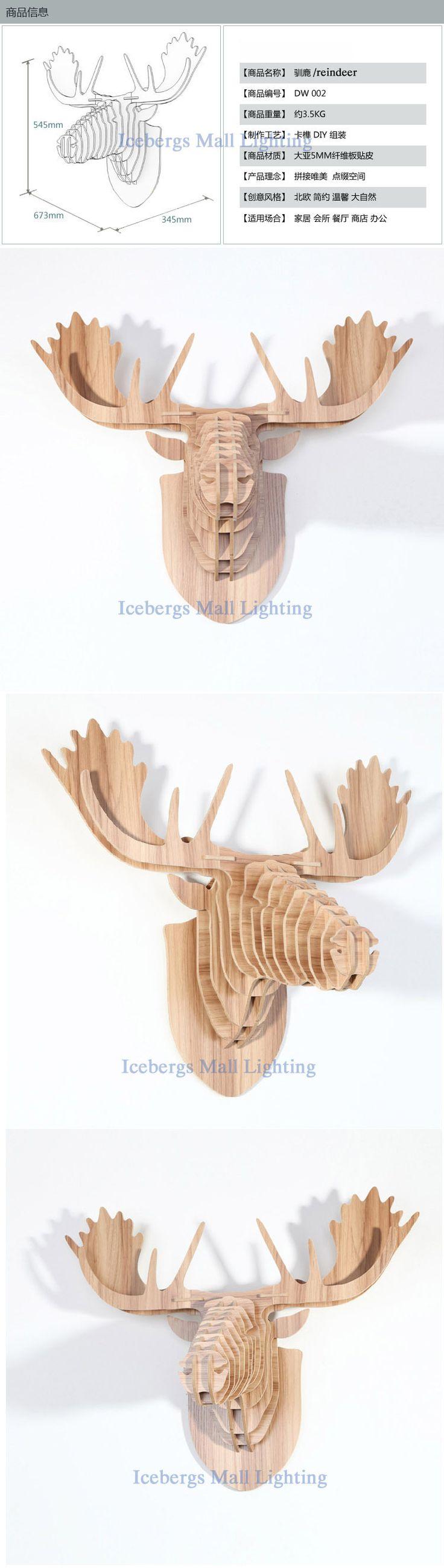 Chineseash estilo de europa diy cabeza de reno de for Decoracion en madera para el hogar