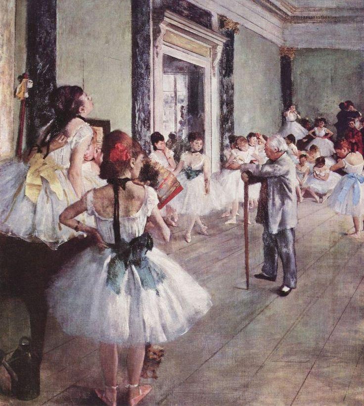 Edgar Germain Hilaire Degas.  Die Tanzklasse. 1875, Öl auf Leinwand, 85 × 75 cm. Paris, Musée d'Orsay. Frankreich. Impressionismus.  KO 01279