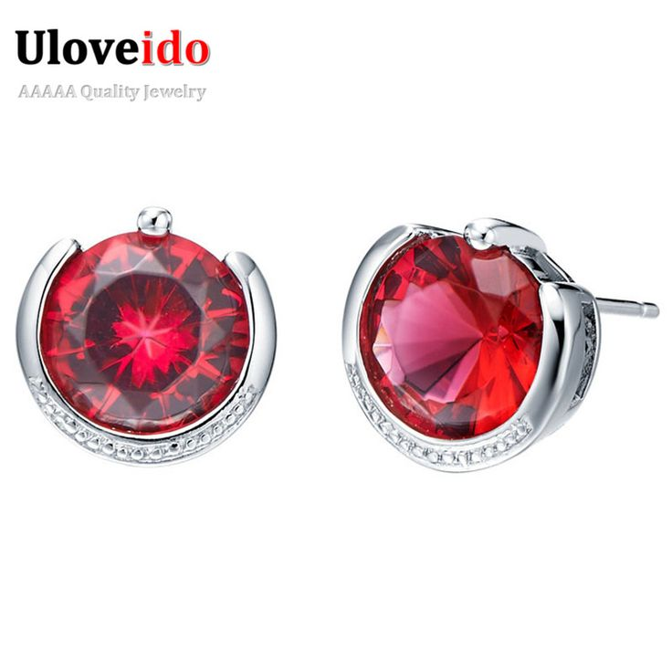 Find More Stud Earrings Information About 2015 New Wedding For Women Crystal Style RedPurple CZ Diamond 925 Sterling Silver
