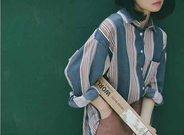 送料込 ¥3,140   シャツ、ストライプ、ロングスリーブ、大人カジュアル | Rayca!