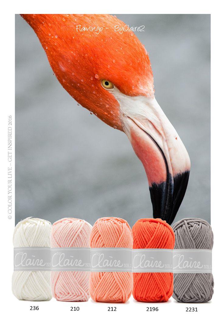 Flamingo Prachtige tinten garen van ByClaire 2 in de kleuren oranje, wit, grijs en zalm roze. Het garen is een mix van katoen en polyacryl. Hierdoor is het zacht, warm en super mooi! Nr. 2  is ideaal voor haakprojecten als grote knuffels, winterkleding en woonaccessoires.