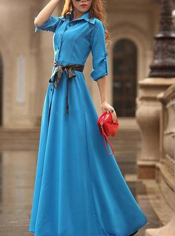 Casual Pointed Collar Maxi Dress  With Buttons Down Front