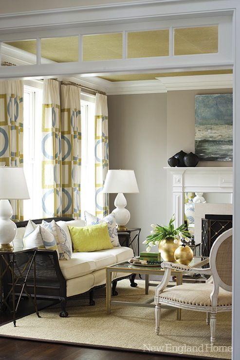 New England Home Jan Hiltz - Amazing yellow & gray loving room with citrine  metallic ceiling  Decor ...