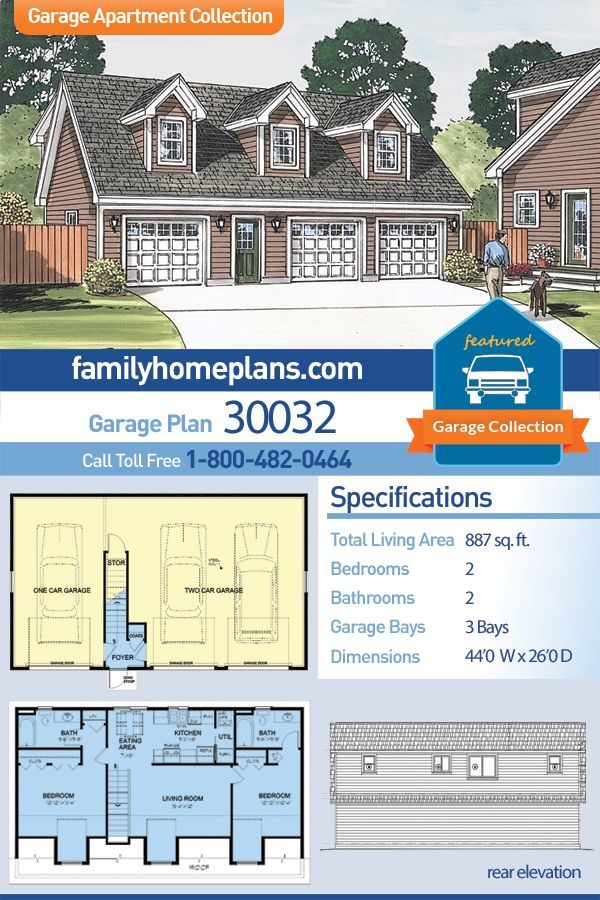 Traditional Style 3 Car Garage Apartment Plan Number 30032 With 2 Bed 2 Bath Carriage House Plans Garage Apartment Plan Garage Guest House