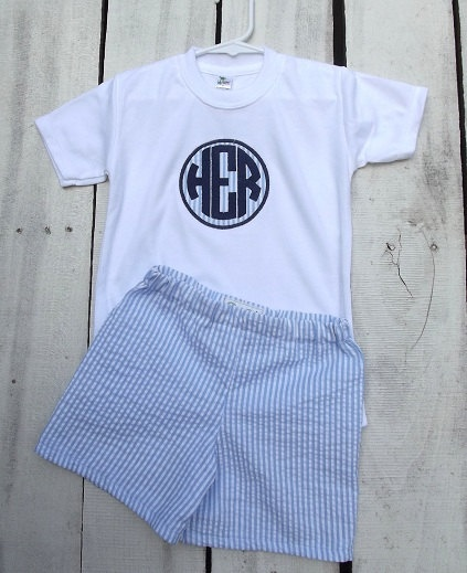 boys seersucker shorts set, monogrammed and custom, blue seersucker. $34.00, via Etsy.