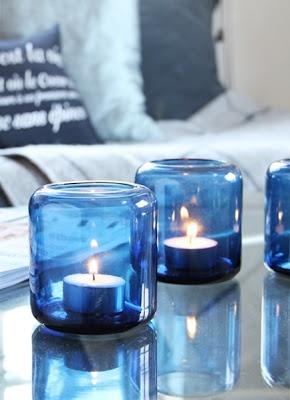 blue glass candleholder
