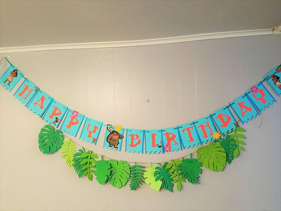 This listing is a Moana Banner with many options (see below). (Leaf Banner sold Separately) APPROX. Dimension 4 W x 6 H Materials -Paper -Ribbon Banner Options - Happy Birthday - together in one line - Happy + Birthday - split in two lines - Happy Birthday Name - in three lines Any questions please feel free to contact me and ill answer as soon as i can. Custom Orders - Ill be more than happy to customize any banner to your liking. Please feel free to contact me. Ill love to work with you...