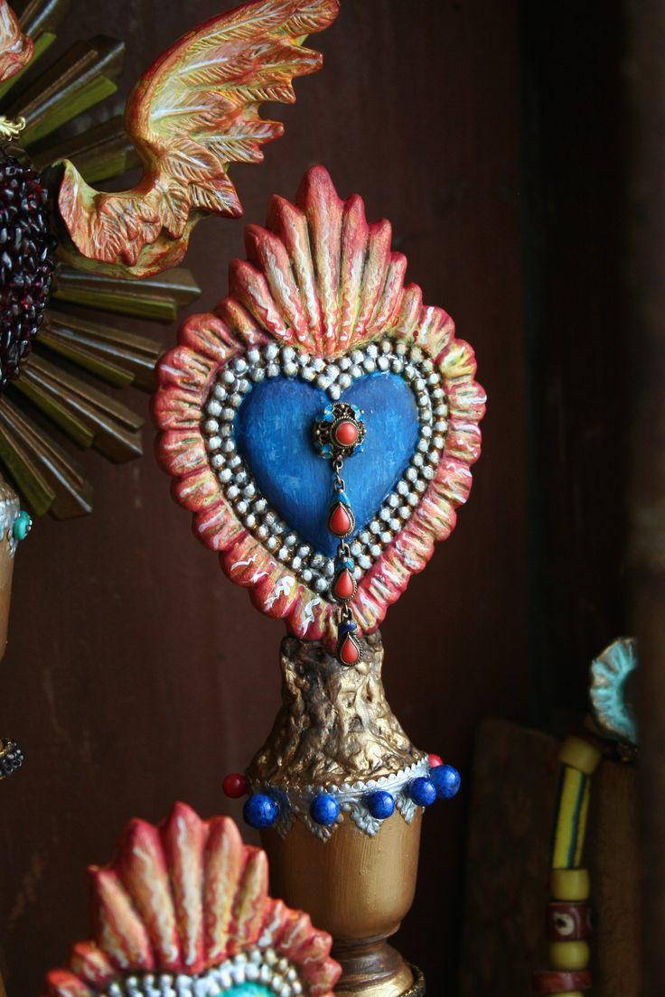 Embellished Relics & Artifacts Flaming Heart Ex Voto I. www.sandraevertson.com