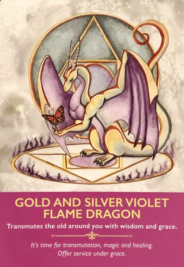 """Daily Angel Oracle Card: Gold and Silver Violet Flame Dragon, from the Dragon Oracle Card deck, by Diana Cooper, Artwork by Carla Morrow Gold and Silver Violet Flame Dragon: """"Transmutes the o…"""