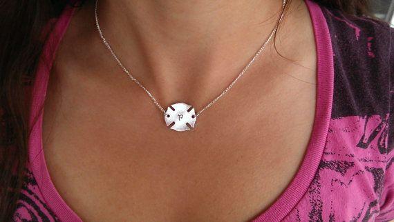 Firefighter Cross Necklace Maltese Cross by SweetAspenJewels