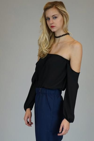 Mittoshop Black Off The Shoulder Chiffon Blouse | Shop Poppy Smooches
