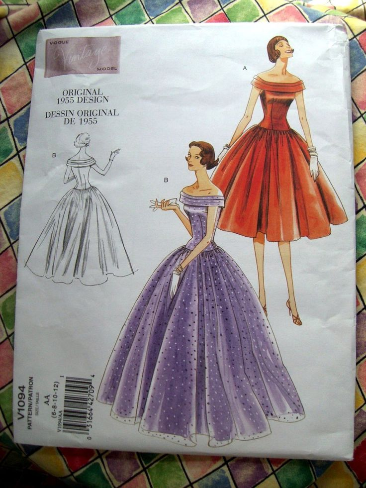 Vogue Pattern # 1094 Retro Vintage UNCUT Misses Dress Gown Size 6 8 10 12