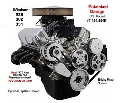 Small Block Ford w/ Power Steering Bright Front Runner Drive System w/o Pump SBF