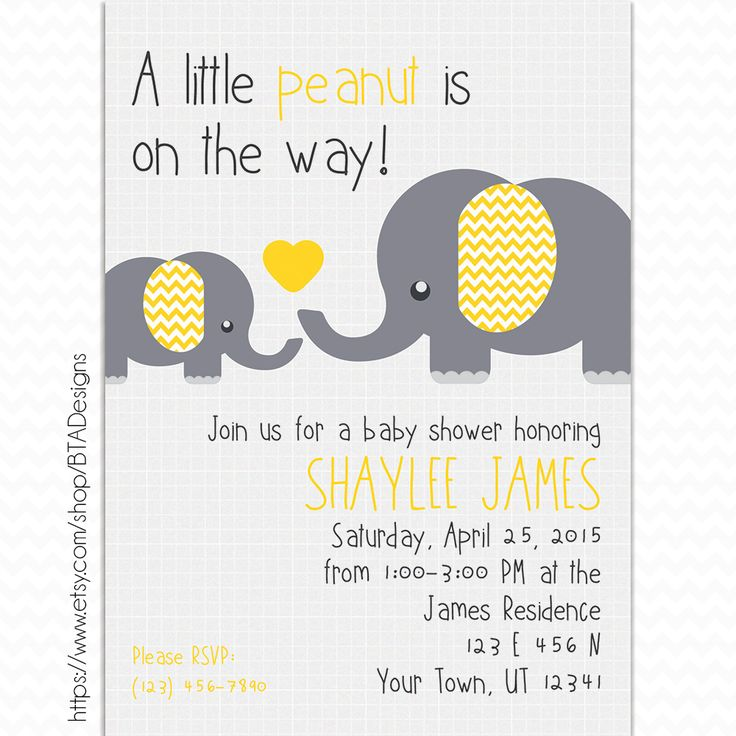 Customizeable Digital Little Peanut Baby Shower Invitation by BTA Designs on Etsy. Elephants Baby Shower, Girl Baby Shower, Boy Baby Shower, Gender Neutral Baby Shower, Yellow and Grey Baby Shower, Yellow and Gray Baby Shower