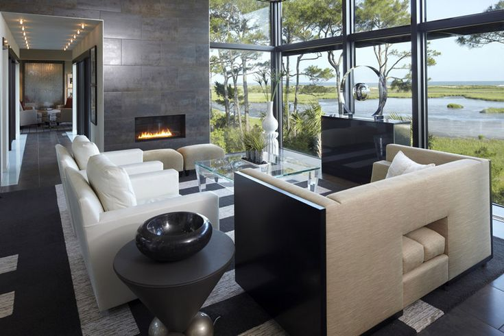 Living room with dark colours in a lake house