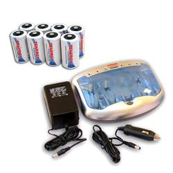Image of Combo: Tenergy T-2299 Universal Smart Charger + 8 Premium D 10000mAh NiMH Rechargeable Batteries