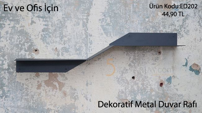 dekoratif metal duvar rafı
