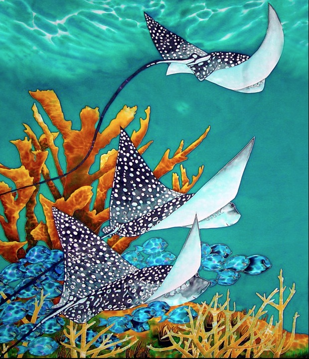 """Under the Bahamian Sea"" - beautiful Original Silk Painting by Daniel Jean-Baptiste of St Lucia."