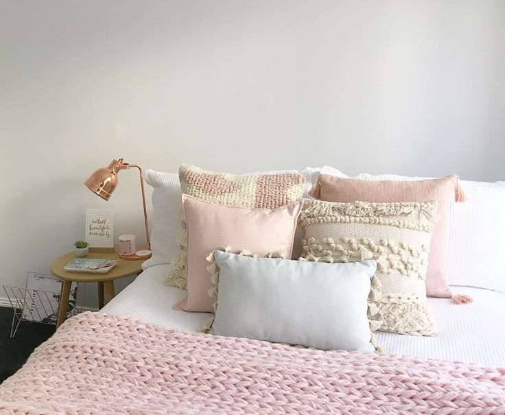 @stylingbytiffany on Instagram: boho scandi bedroom blush pink bed cushions