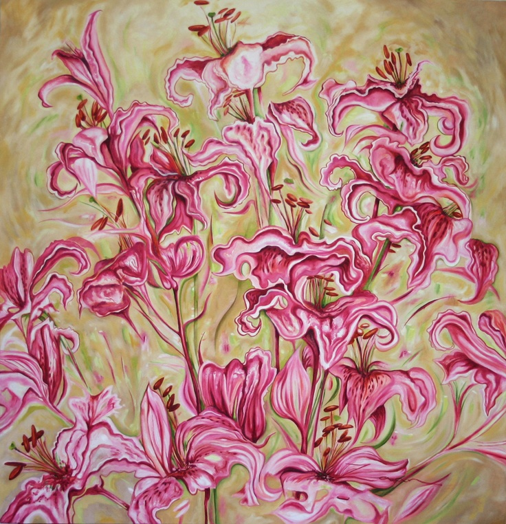 Pink Lilies - Painting by Zaan Claassens   StateoftheArt.co.za