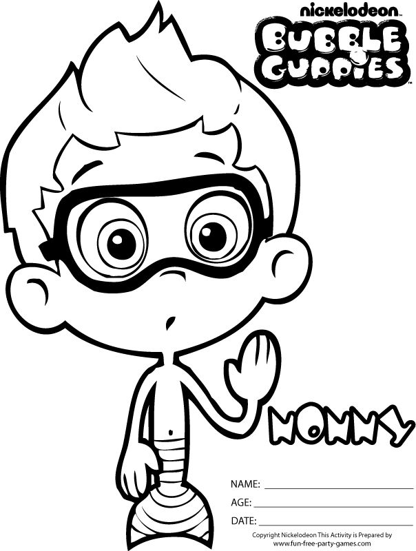 Bubble Guppies Coloring Pages Free Nonny