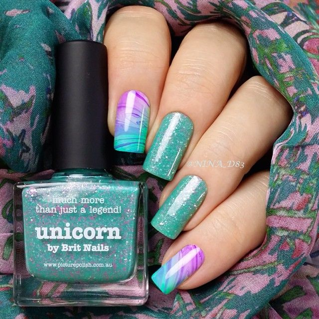 Manicure with turquoise and purple colors ===== Check out my Etsy store for some nail art supplies https://www.etsy.com/shop/LaPalomaBoutique