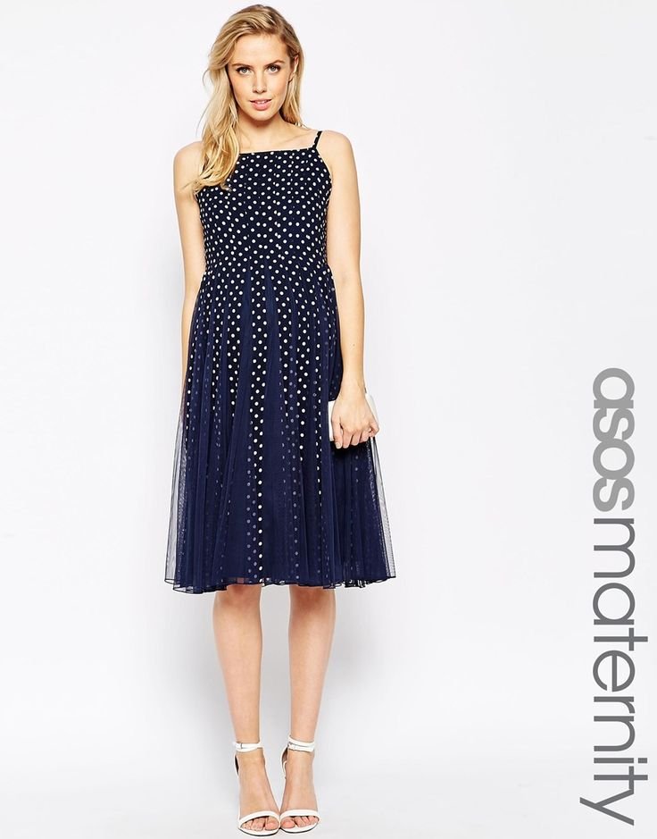 ASOS Maternity Mesh Insert Midi Dress With Polka Dot