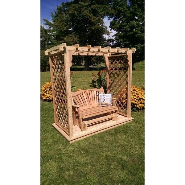 American-Made Covington Garden Arbor ($560) ❤ liked on Polyvore featuring home, outdoors, patio furniture, outdoor patio furniture, outdoor glider chair, american swing, garden furniture and garden swing