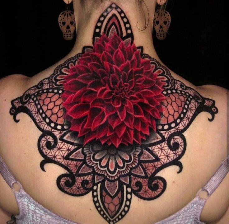 Dahlia & Mandala Ornamental Tattoo on Girls's Back & Neck | Best tattoo design ideas