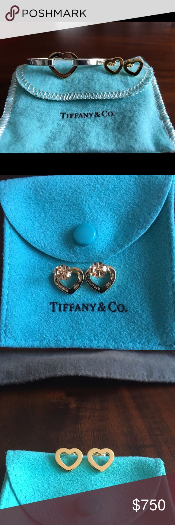 Authentic Tiffany & Co Heart Earring & Bangle Set Classic retired Tiffany pieces that are hard to find! The bangle is in sterling silver and the heart is in 18k gold. The earrings and backs are 18k gold. The bangle has been worn a few times and in excellent condition.  The earring have never been worn and have just been stored away.  Earring measurements are 12mm x 10mm. The bangle measurements are 2.25 at its closed position. The original jewelry pouch and box for each piece will be…