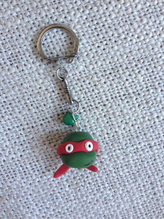 Idee cadeau pour les invites ou bricoler 1 bougie - Porte-Clé Tortue Ninja #fimo / Teenage Mutant Ninja Turtles keychain #polymer