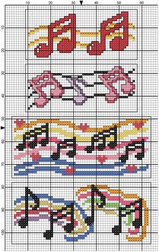 Cross-stitch Music Notes pattern... no color chart, just use pattern chart colors as your guide.. or choose your own colors.