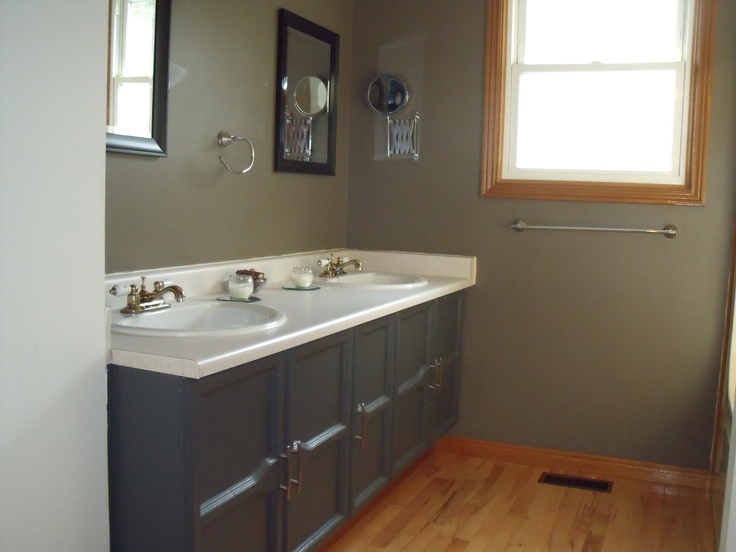 Upper level bathroom 4 pce with hardwood floors and double his n hers sinks