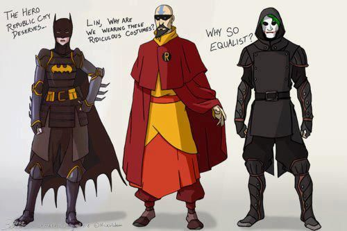 Why so Equalist? Adults from LOK cosplaying as Batman ...