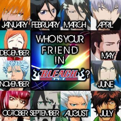 Anime/manga: Bleach Charatcers: Ichigo, Rukia, Byakuya, Gin, Aizen, Ishida, Chad, Toshiro, Ulquiorra, Riruka, Grimmjow, and Orihime, I got Ichigo