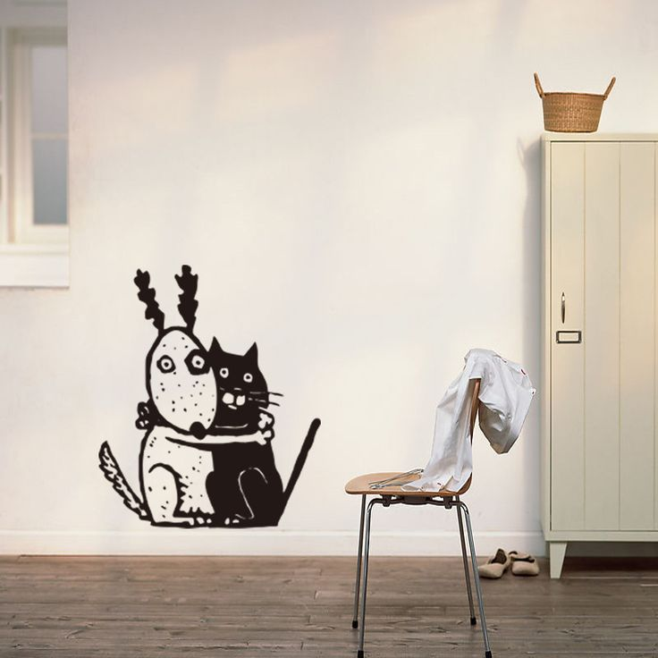 Creative Personality Cartoon Cat and Dog Boy Girl Room Wall Stickers Manufacturers Customized Wholesale