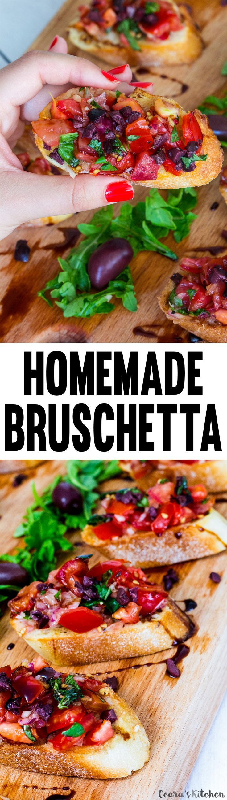 There are so many #Bruschetta recipes out there but this simple one is my favorite. Made with crunchy baguette, ripe tomatoes, fresh basil and lots of garlic! #Appetizer #Vegan