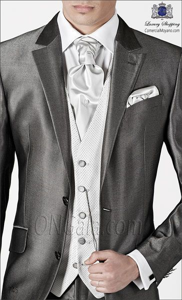"Anthracite gray wedding suit in granite ""New performance"" woven fabric. 