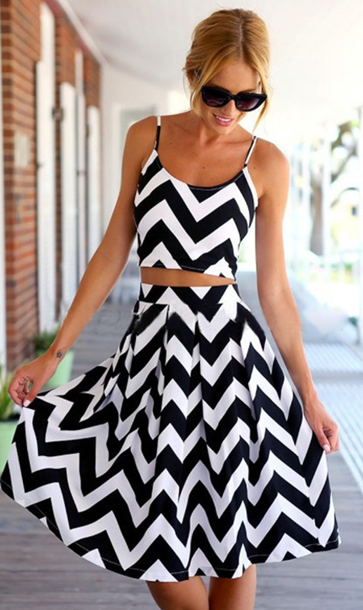 "Black White Chevron Two Piece...""If this was one piece, this would be sooo cute."""