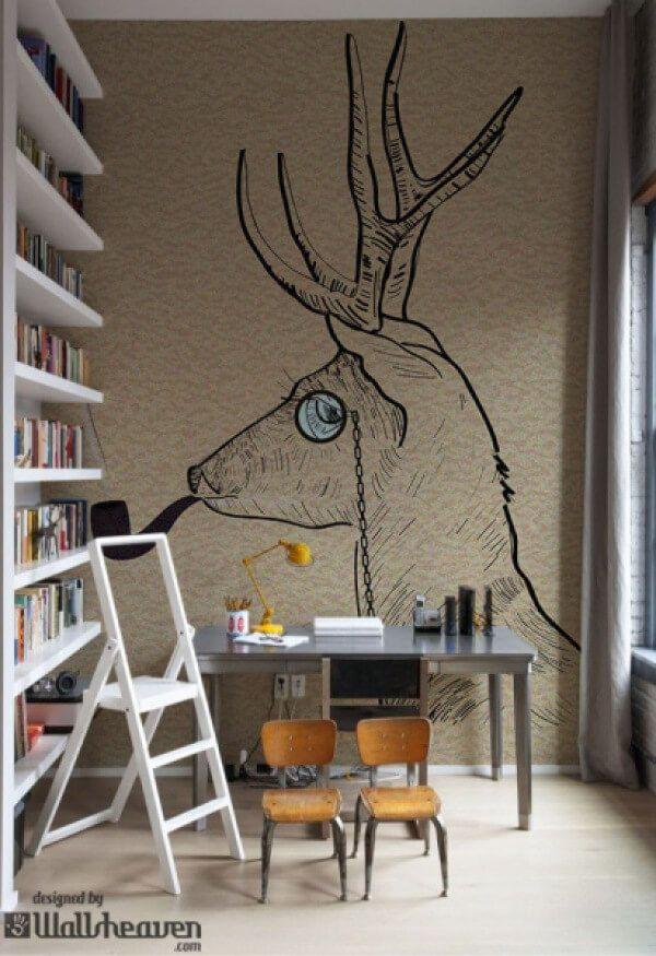 INTERIOR {#Design#} - Hipster reindeer smoking tobacco pipe