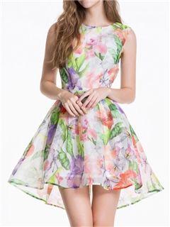 vestido de fiesta corto de impresión con cuello en V ericdress verano